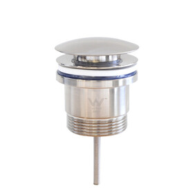 Basin Waste   32x40mm 2-Piece Universal Pop Up Basin Waste   Bolt Style   Dome   Brushed Nickel